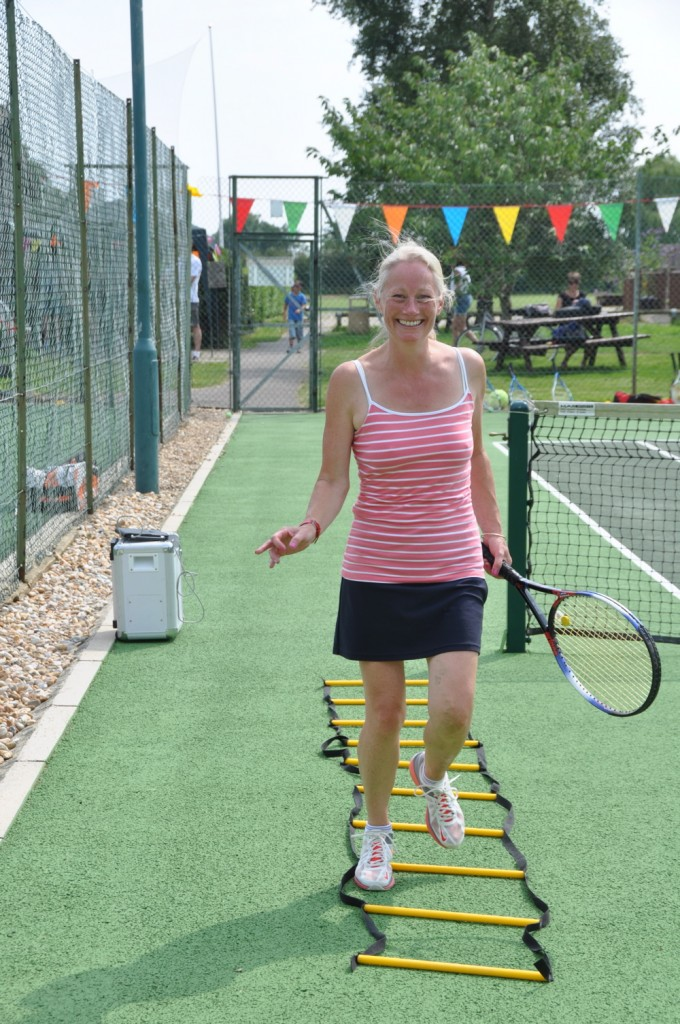 nicki holden trying the Cardio Tennis workout